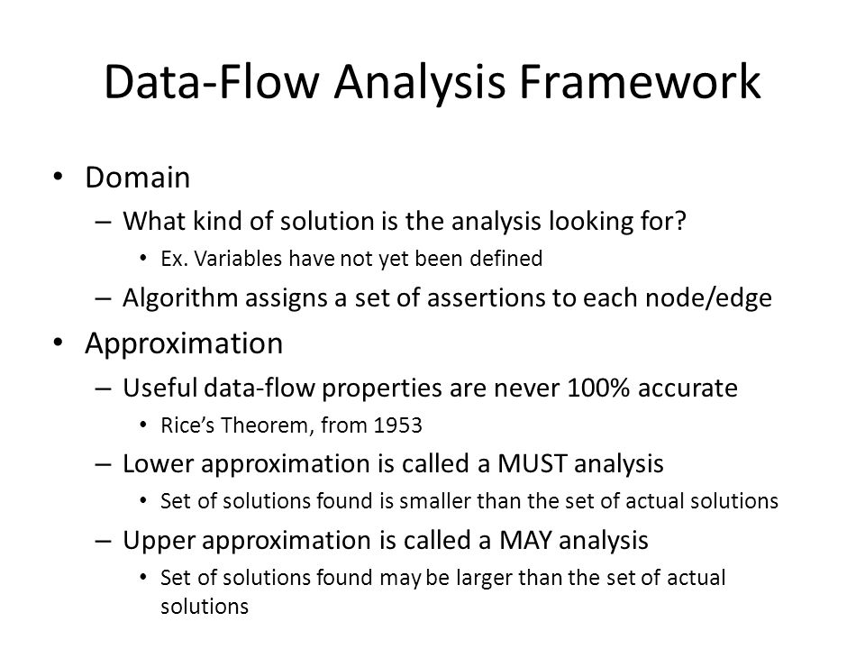 Data-Flow Analysis Framework Domain – What kind of solution is the analysis looking for? Ex. Variables have not yet been defined – Algorithm assigns a