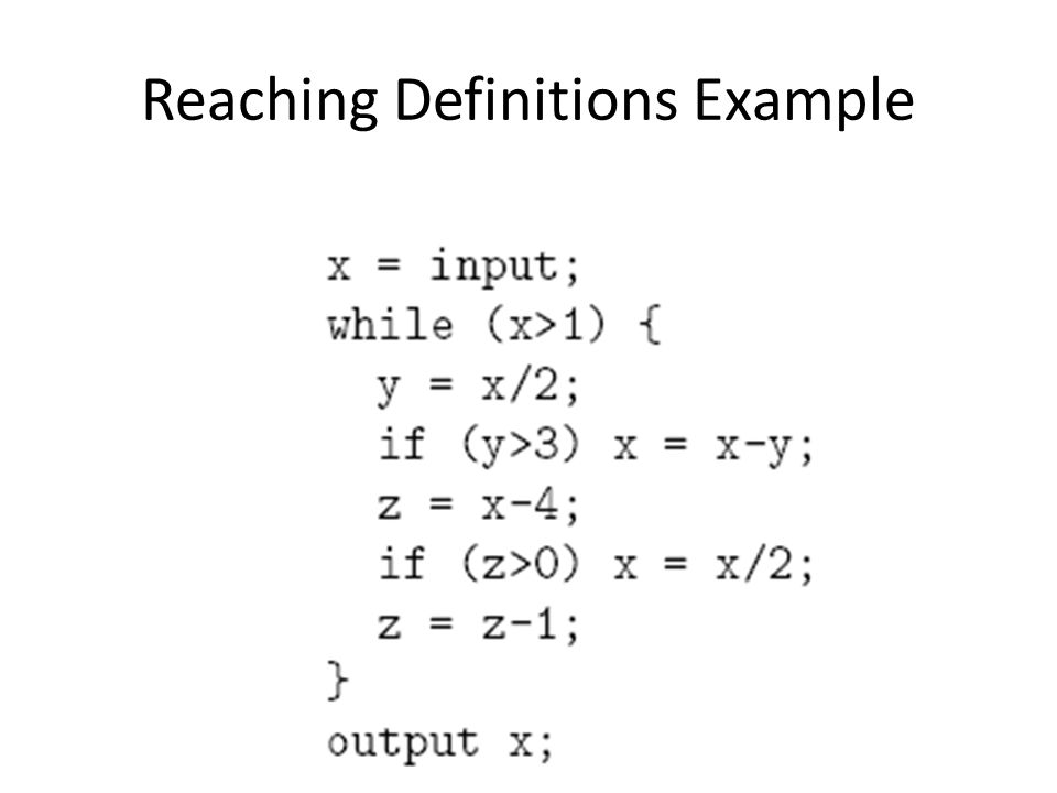 Reaching Definitions Example