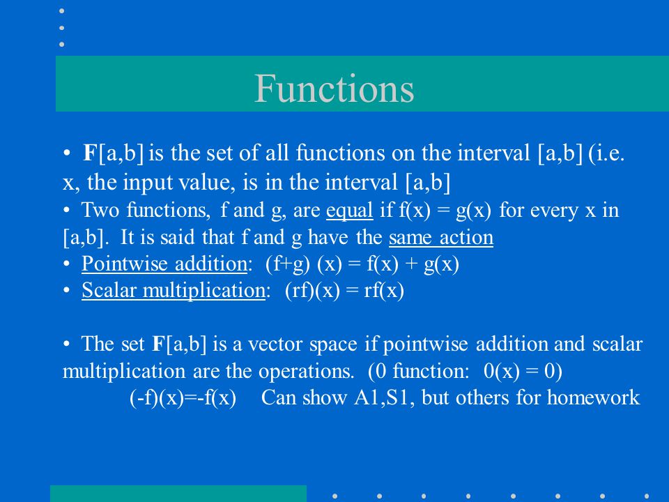 Functions F[a,b] is the set of all functions on the interval [a,b] (i.e.