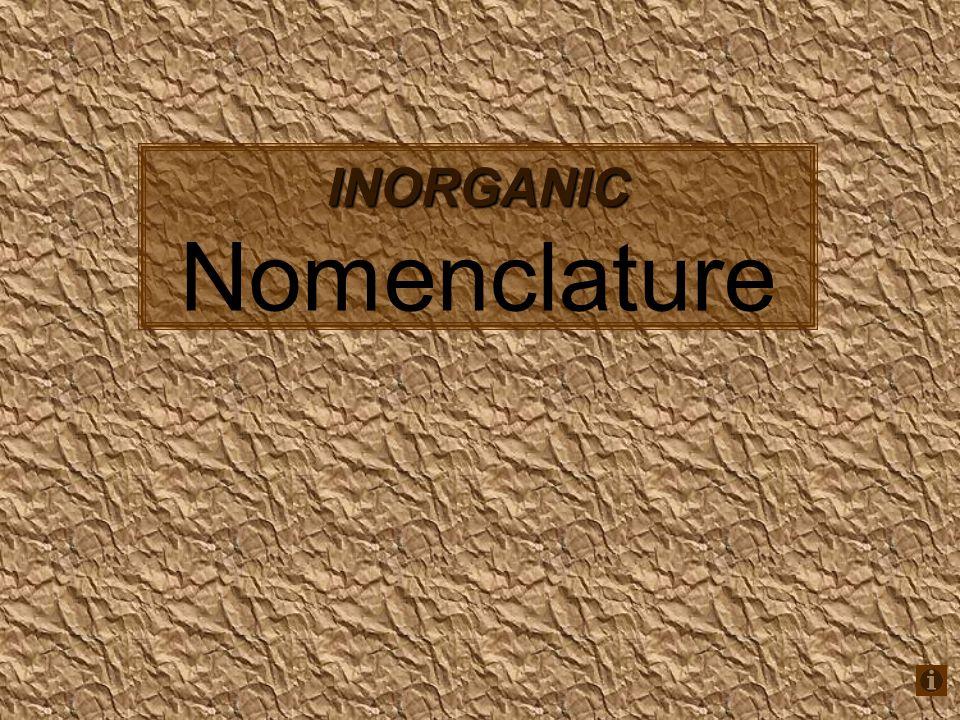 INORGANIC INORGANIC Nomenclature