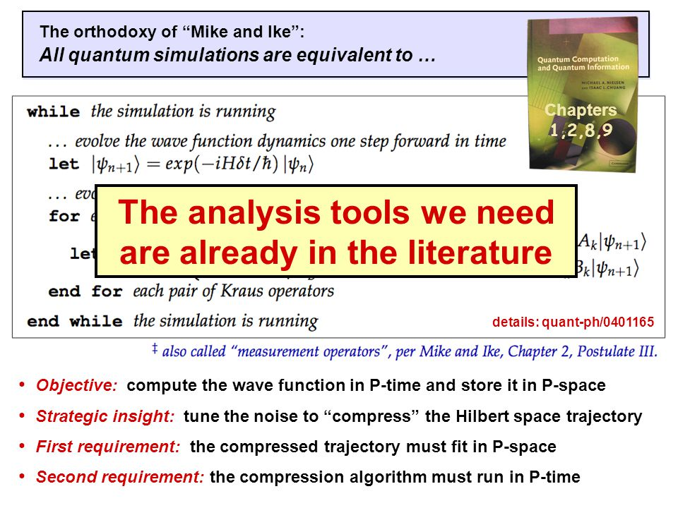 The orthodoxy of Mike and Ike : All quantum simulations are equivalent to … Objective: compute the wave function in P-time and store it in P-space Strategic insight: tune the noise to compress the Hilbert space trajectory First requirement: the compressed trajectory must fit in P-space Second requirement: the compression algorithm must run in P-time Chapters 1,2,8,9 The analysis tools we need are already in the literature details: quant-ph/0401165
