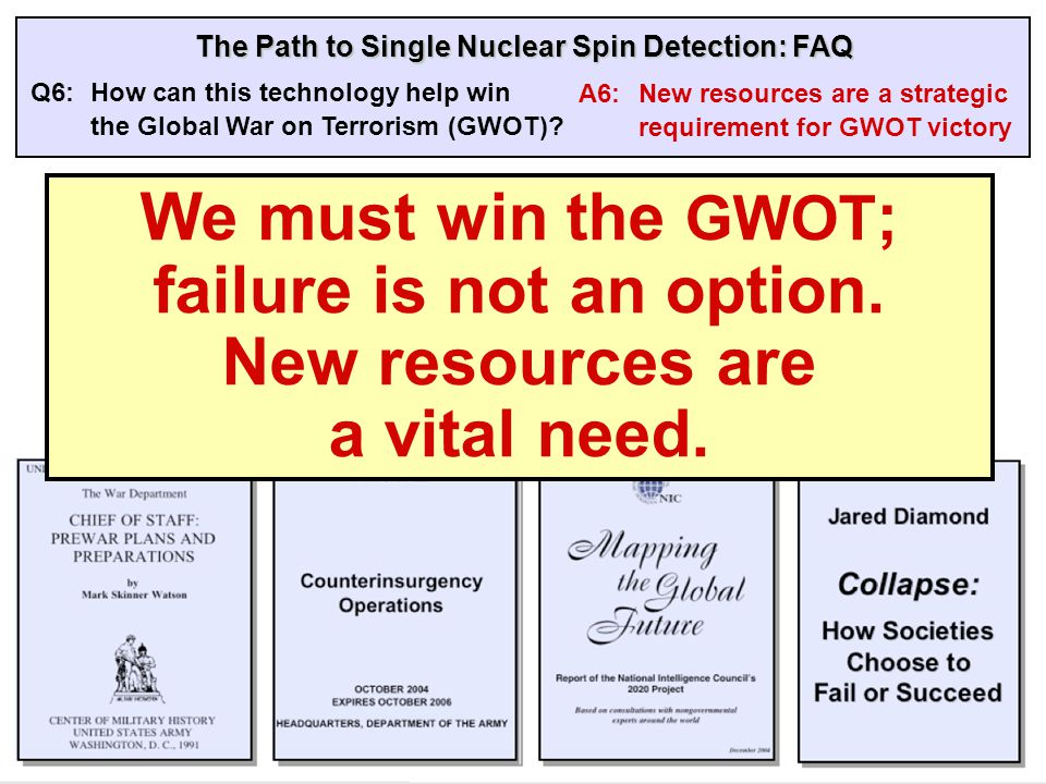 The Path to Single Nuclear Spin Detection: FAQ Q6:How can this technology help win the Global War on Terrorism (GWOT).