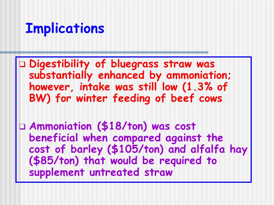 Implications  Digestibility of bluegrass straw was substantially enhanced by ammoniation; however, intake was still low (1.3% of BW) for winter feeding of beef cows  Ammoniation ($18/ton) was cost beneficial when compared against the cost of barley ($105/ton) and alfalfa hay ($85/ton) that would be required to supplement untreated straw