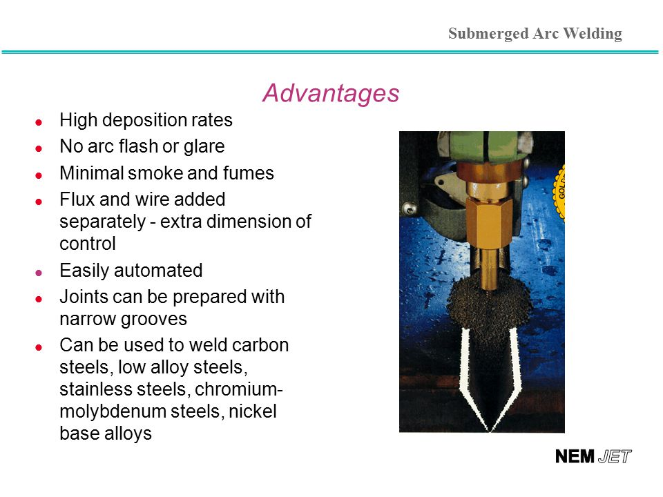 Advantages l High deposition rates l No arc flash or glare l Minimal smoke and fumes l Flux and wire added separately - extra dimension of control l E
