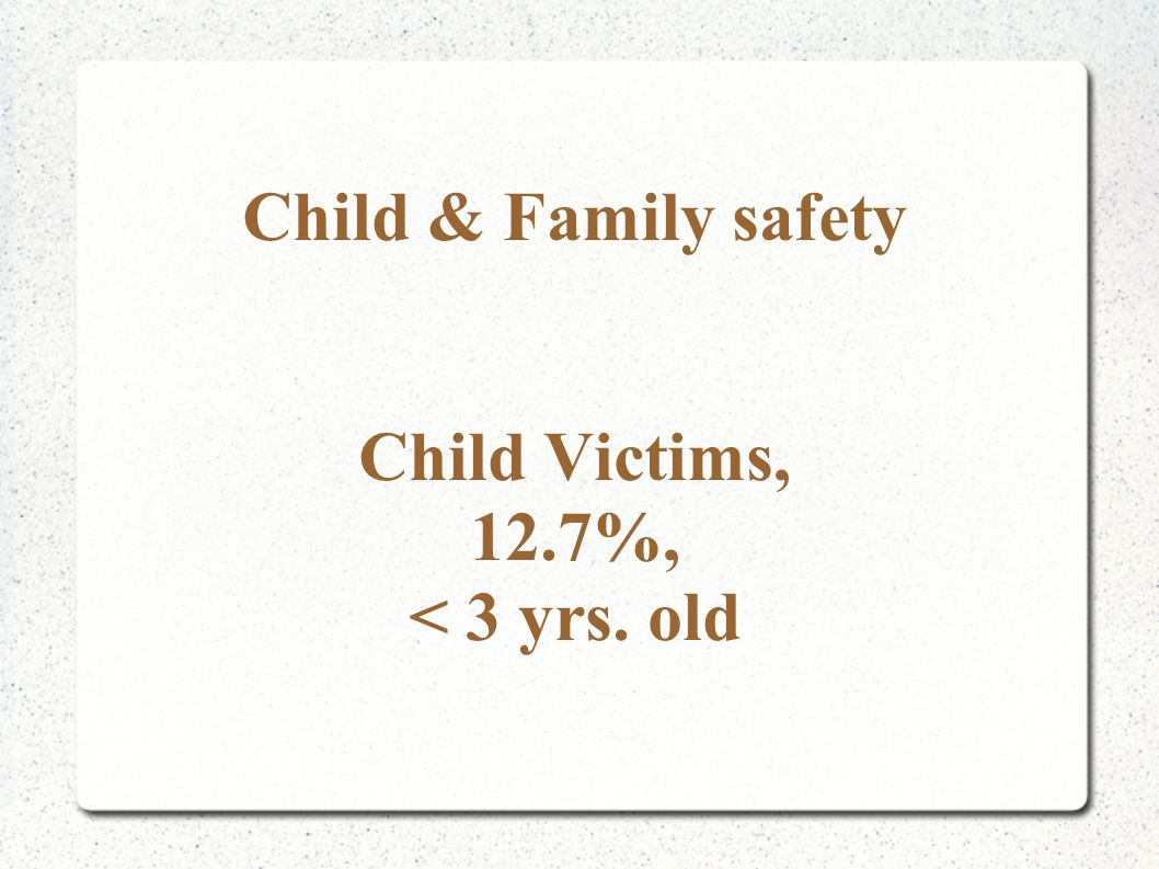 Child & Family safety Child Victims, 12.7%, < 3 yrs. old
