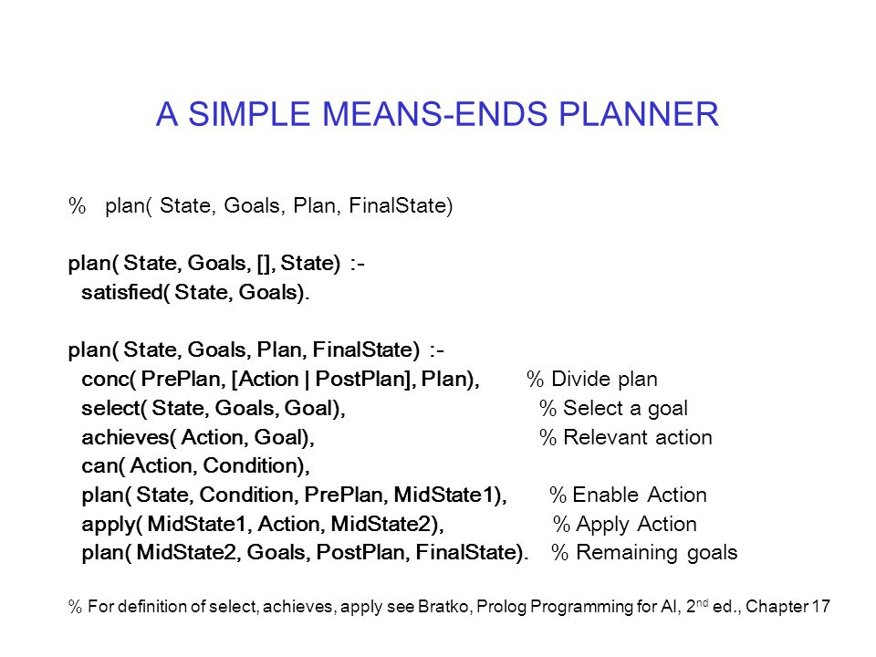 A SIMPLE MEANS-ENDS PLANNER % plan( State, Goals, Plan, FinalState) plan( State, Goals, [], State) :- satisfied( State, Goals).
