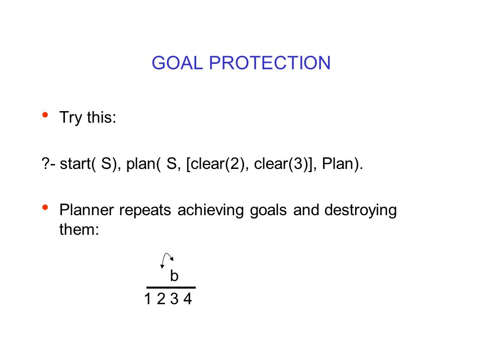 GOAL PROTECTION Try this: ?- start( S), plan( S, [clear(2), clear(3)], Plan). Planner repeats achieving goals and destroying them: b 1 2 3 4
