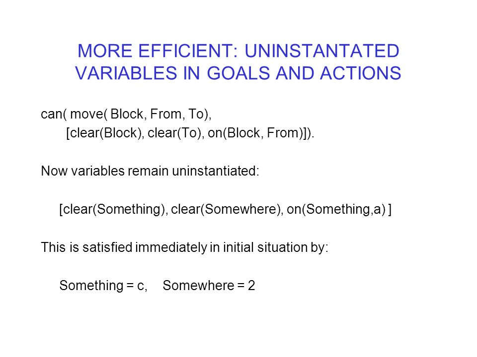 MORE EFFICIENT: UNINSTANTATED VARIABLES IN GOALS AND ACTIONS can( move( Block, From, To), [clear(Block), clear(To), on(Block, From)]). Now variables r