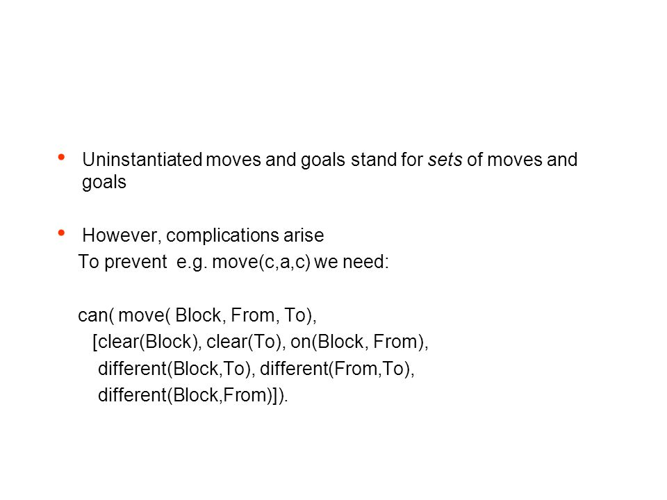 Uninstantiated moves and goals stand for sets of moves and goals However, complications arise To prevent e.g.