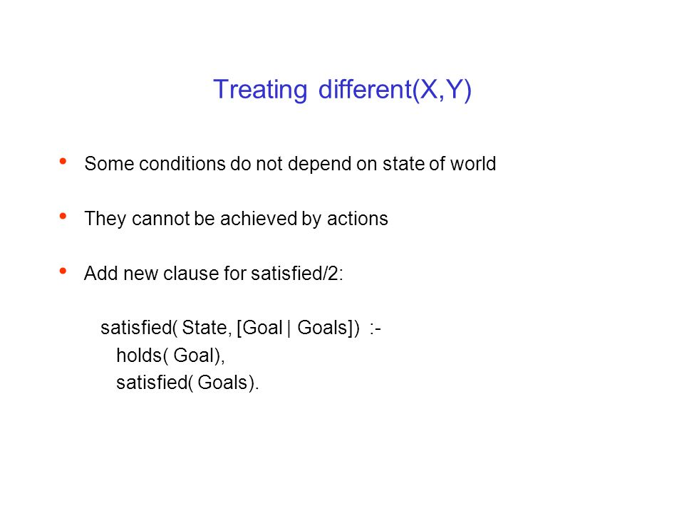 Treating different(X,Y) Some conditions do not depend on state of world They cannot be achieved by actions Add new clause for satisfied/2: satisfied(