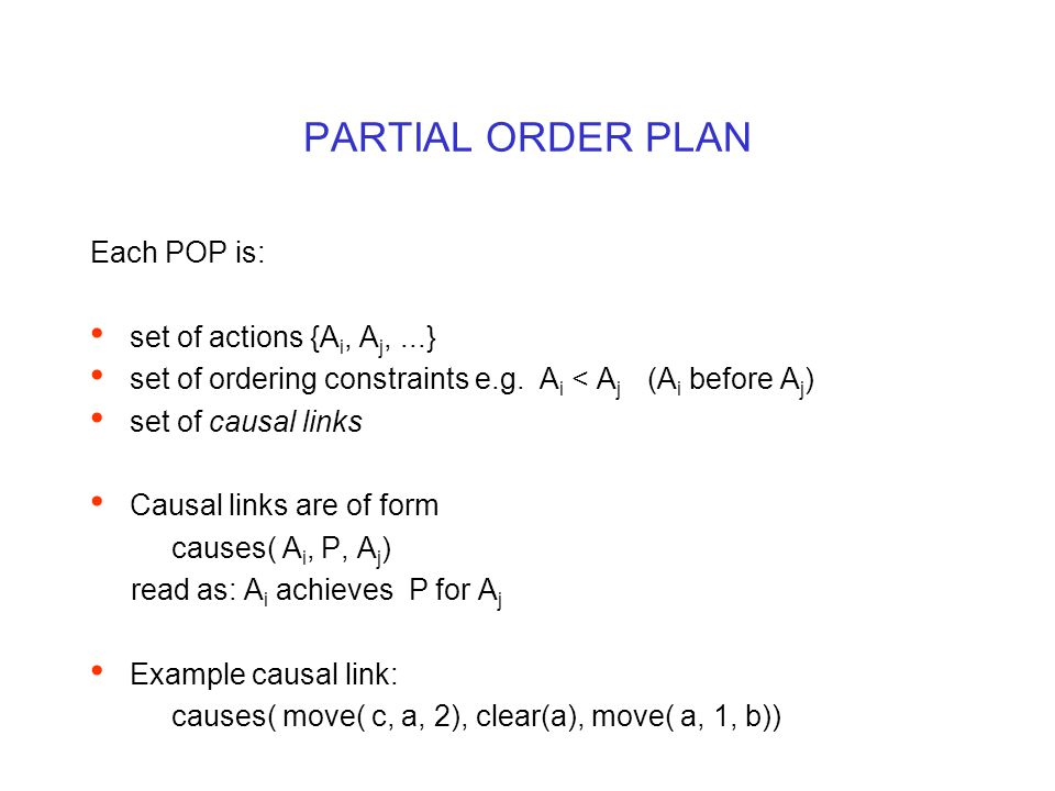 PARTIAL ORDER PLAN Each POP is: set of actions {A i, A j,...} set of ordering constraints e.g.