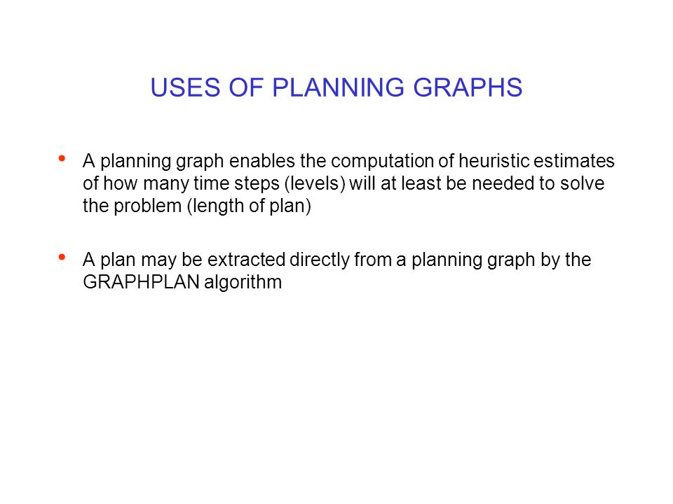 USES OF PLANNING GRAPHS A planning graph enables the computation of heuristic estimates of how many time steps (levels) will at least be needed to solve the problem (length of plan) A plan may be extracted directly from a planning graph by the GRAPHPLAN algorithm