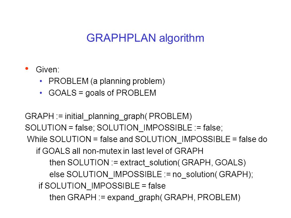 GRAPHPLAN algorithm Given: PROBLEM (a planning problem) GOALS = goals of PROBLEM GRAPH := initial_planning_graph( PROBLEM) SOLUTION = false; SOLUTION_IMPOSSIBLE := false; While SOLUTION = false and SOLUTION_IMPOSSIBLE = false do if GOALS all non-mutex in last level of GRAPH then SOLUTION := extract_solution( GRAPH, GOALS) else SOLUTION_IMPOSSIBLE := no_solution( GRAPH); if SOLUTION_IMPOSSIBLE = false then GRAPH := expand_graph( GRAPH, PROBLEM)