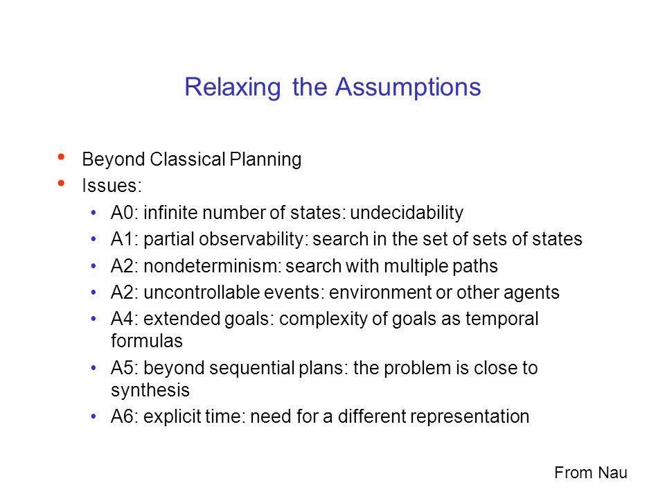 Relaxing the Assumptions Beyond Classical Planning Issues: A0: infinite number of states: undecidability A1: partial observability: search in the set