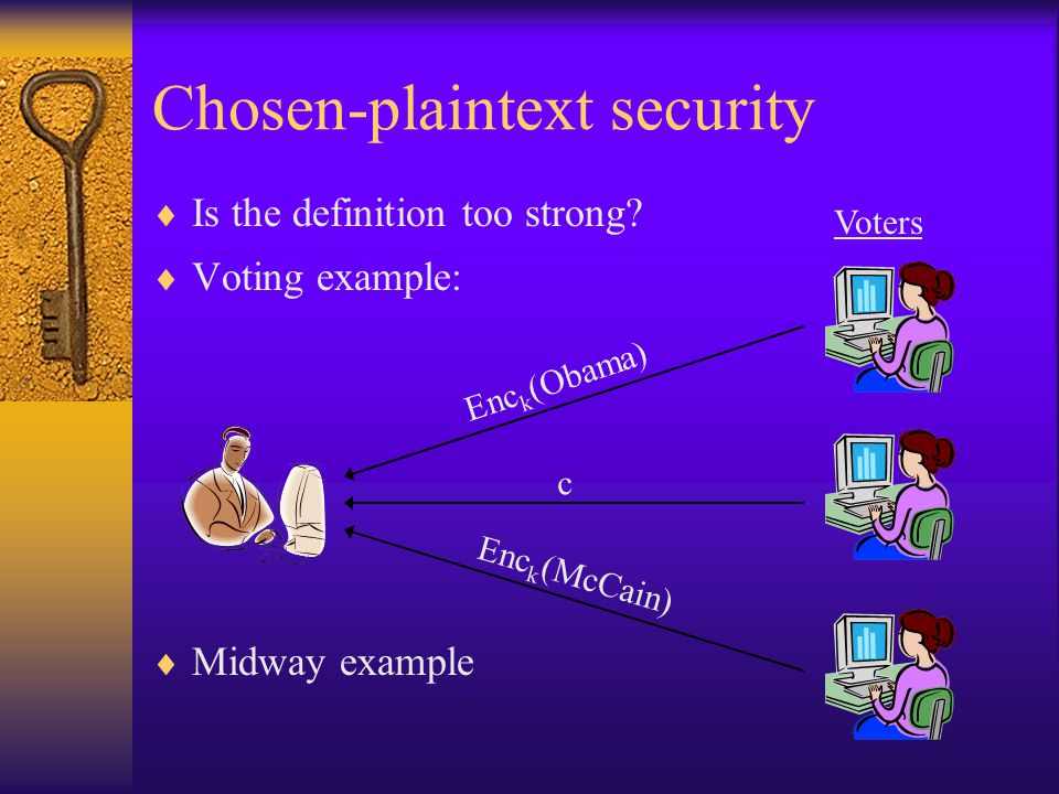Chosen-plaintext security  Is the definition too strong.