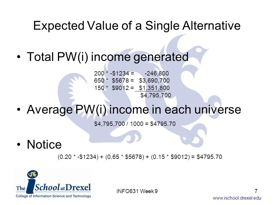 www.ischool.drexel.edu Expected Value of a Single Alternative Total PW(i) income generated Average PW(i) income in each universe Notice 200 * -$1234 =