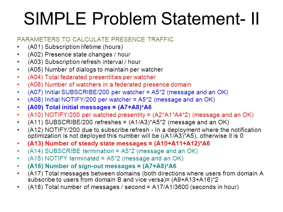 SIMPLE Problem Statement- II PARAMETERS TO CALCULATE PRESENCE TRAFFIC (A01) Subscription lifetime (hours) (A02) Presence state changes / hour (A03) Su