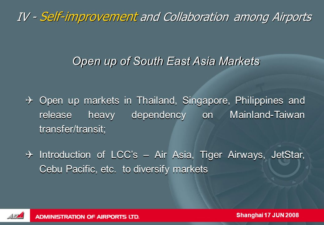 Shanghai 17 JUN 2008 Open up of South East Asia Markets  Open up markets in Thailand, Singapore, Philippines and release heavy dependency on Mainland-Taiwan transfer/transit; IV - Self-improvement and Collaboration among Airports  Introduction of LCC's – Air Asia, Tiger Airways, JetStar, Cebu Pacific, etc.