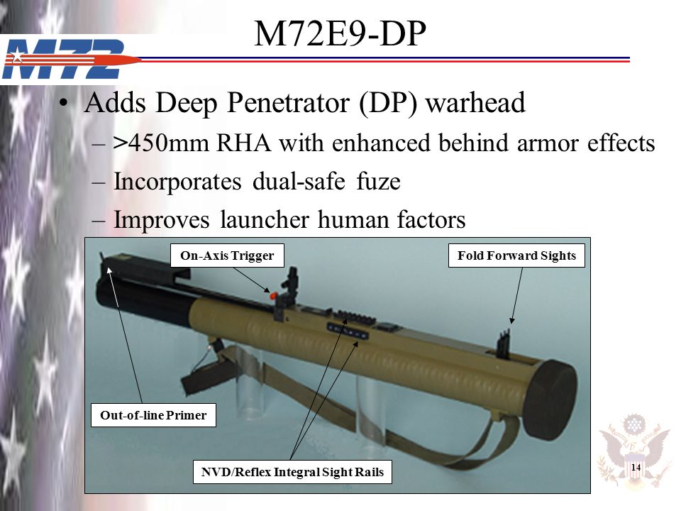 M72E9-DP Adds Deep Penetrator (DP) warhead –>450mm RHA with enhanced behind armor effects –Incorporates dual-safe fuze –Improves launcher human factor