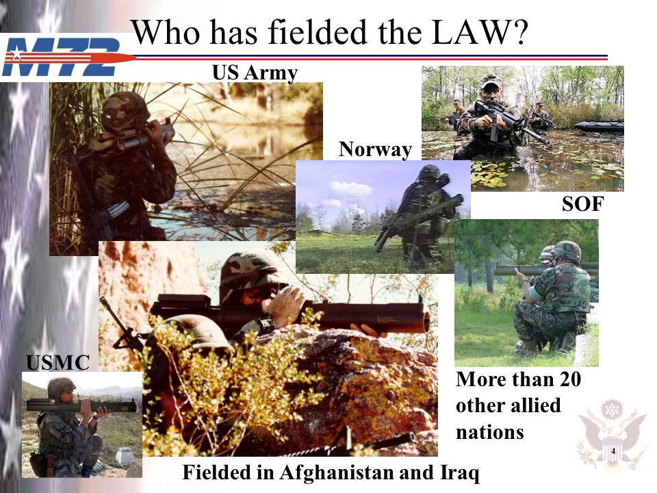 Who has fielded the LAW? US Army Fielded in Afghanistan and Iraq SOF 4 Norway USMC More than 20 other allied nations