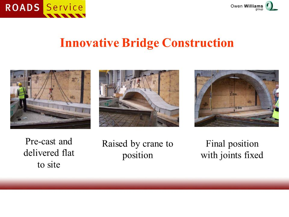 Innovative Bridge Construction Pre-cast and delivered flat to site Raised by crane to position Final position with joints fixed