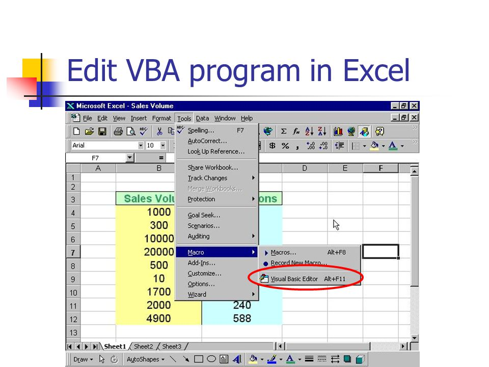Edit VBA program in Excel