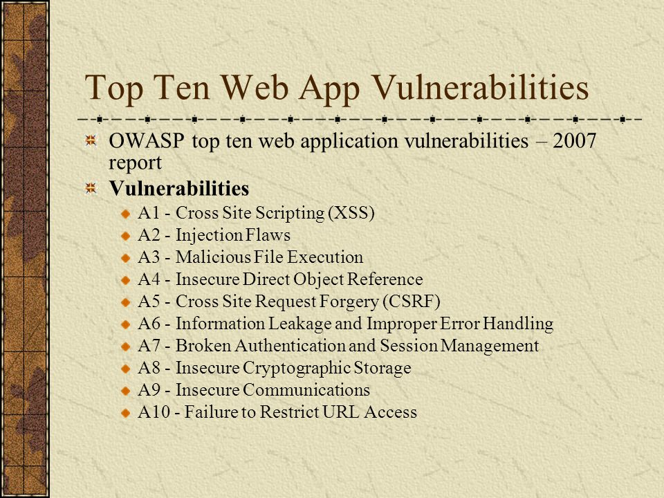Top Ten Web App Vulnerabilities OWASP top ten web application vulnerabilities – 2010 report Vulnerabilities A1 - Injection Flaws A2 - Cross Site Scripting (XSS) A3 – Broken Authentication and Session Management A4 - Insecure Direct Object Reference A5 - Cross Site Request Forgery (CSRF) A6 – Security misconfiguration A7 - Insecure Cryptographic Storage A8 - Failure to Restrict URL Access A9 – Insufficient transport layer protection A10 – Unvalidated redirect and forwards