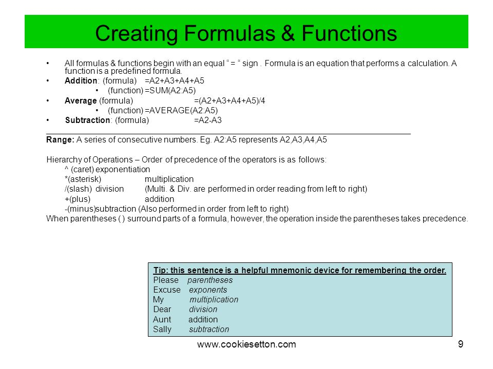 www.cookiesetton.com9 Creating Formulas & Functions All formulas & functions begin with an equal = sign.