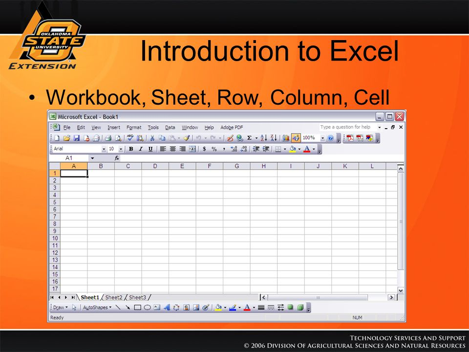 Introduction to Excel Name Box (Cell Address) Formula Bar (Contents of Cell) Cells can contain Values or Formulas Commas separate values (1,2,3) is 1 and 2 and 3 Colons indicate ranges (A2:A5) is Cell A2 through A5