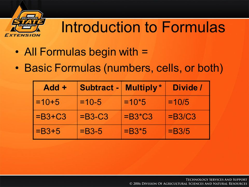 Introduction to Formulas All Formulas begin with = Advanced Formulas (multiple operations) –Math rules apply, multiplication and division are done first, addition and subtraction next –Use Parentheses to manipulate order FormulaResultFormulaResult =10-5-23=10/5*24 =10-5*20=(10-5)*210 =B2-C2-D23=B2/C2*D24 =B2-C2*D20=(B2-C2)*D210