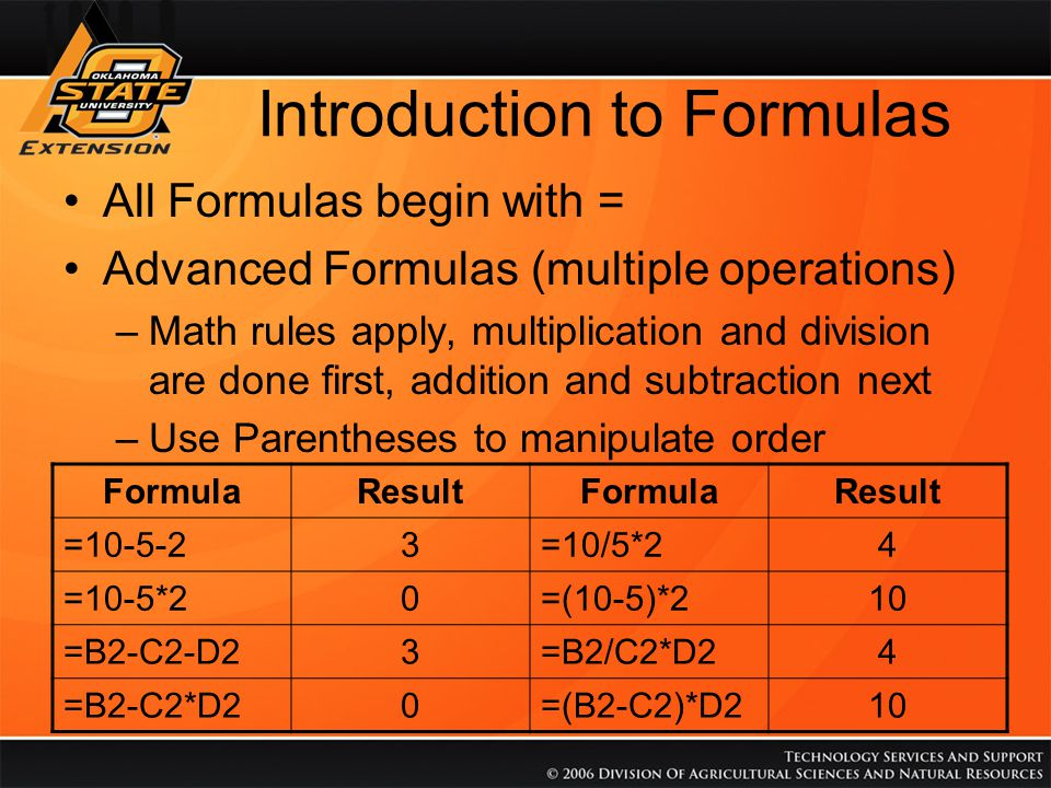 Introduction to Formulas All Formulas begin with = Advanced Formulas (multiple operations) –Math rules apply, multiplication and division are done fir