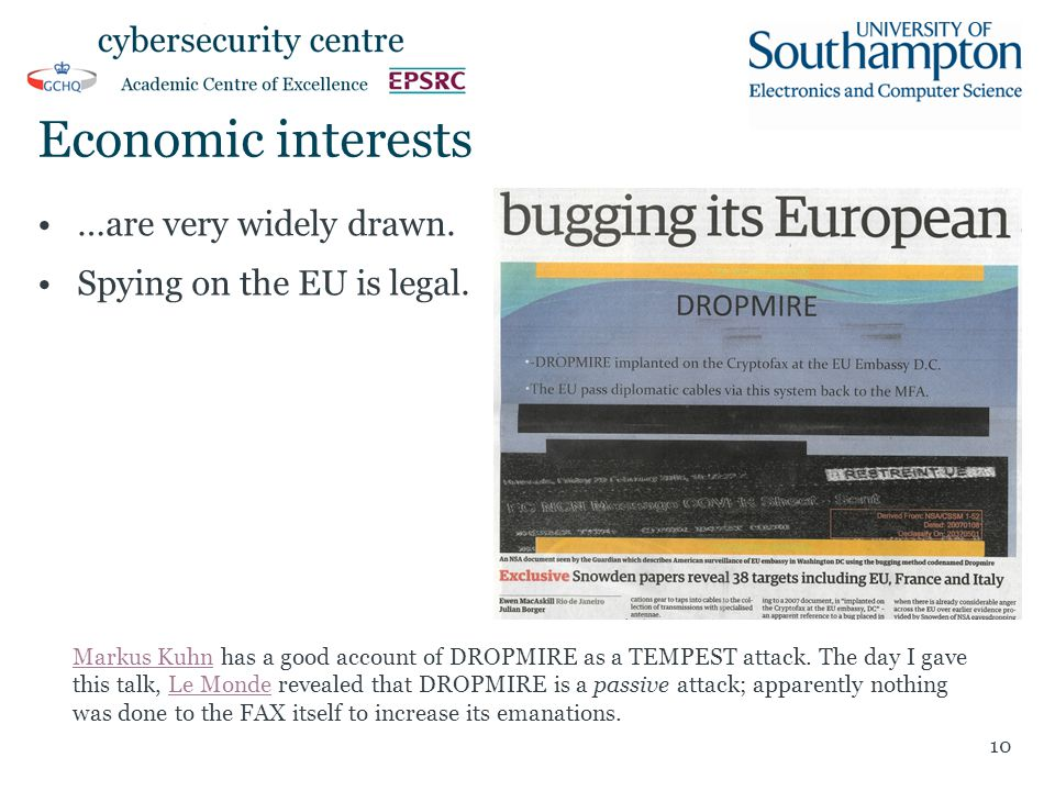 Economic interests …are very widely drawn. Spying on the EU is legal. 10 Markus KuhnMarkus Kuhn has a good account of DROPMIRE as a TEMPEST attack. Th