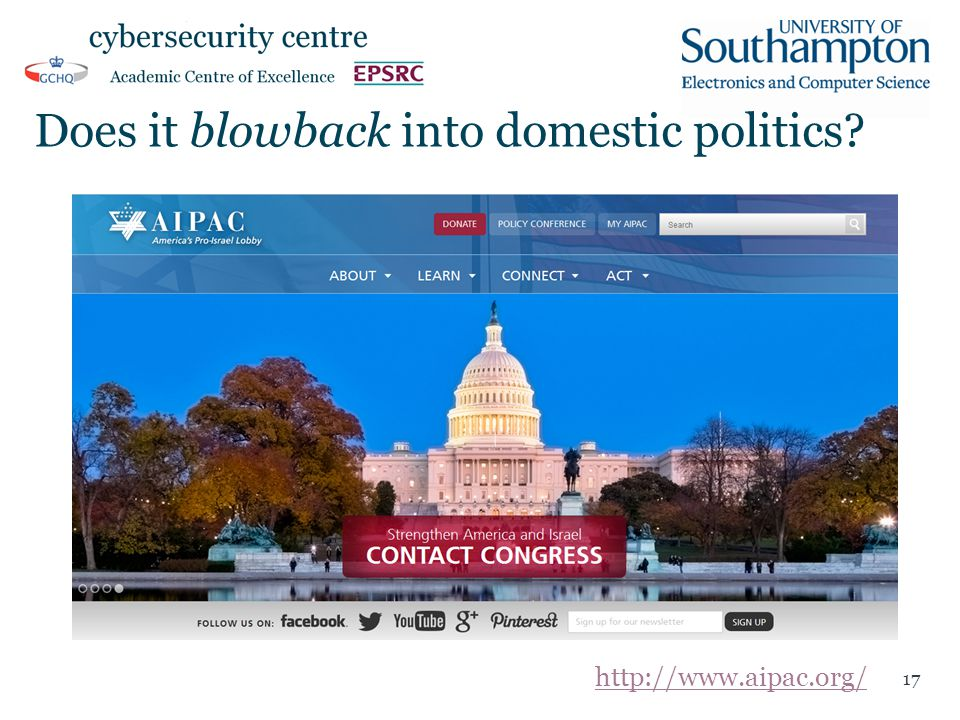 Does it blowback into domestic politics? 17 http://www.aipac.org/