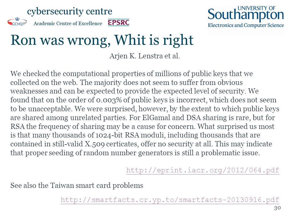 Ron was wrong, Whit is right Arjen K. Lenstra et al.