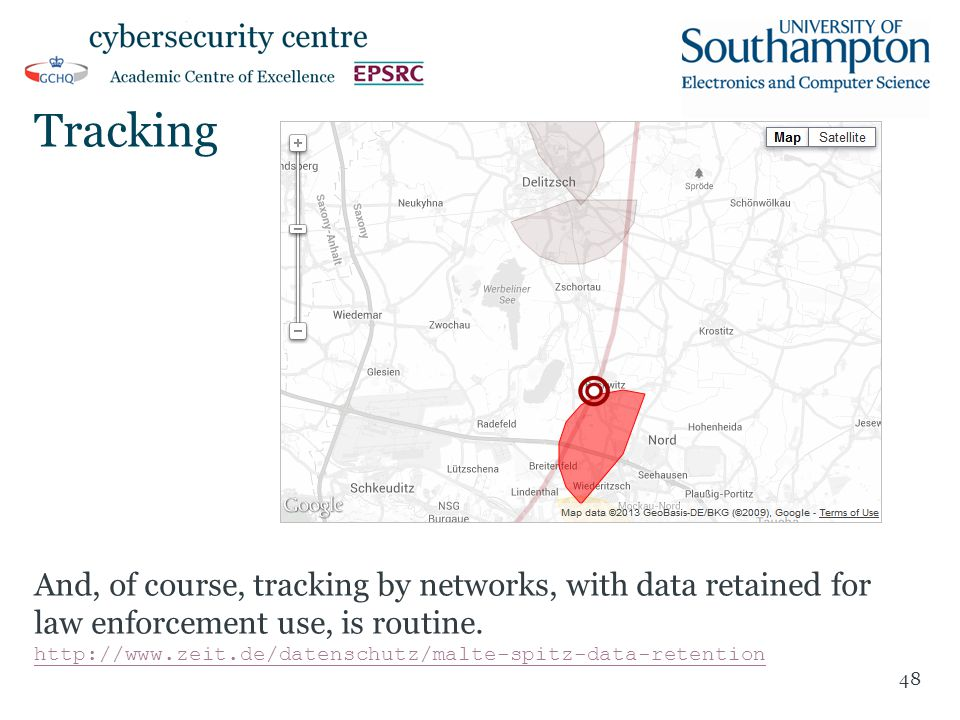 Tracking And, of course, tracking by networks, with data retained for law enforcement use, is routine. http://www.zeit.de/datenschutz/malte-spitz-data