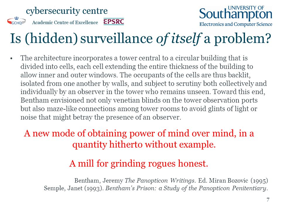 Is (hidden) surveillance of itself a problem? The architecture incorporates a tower central to a circular building that is divided into cells, each ce