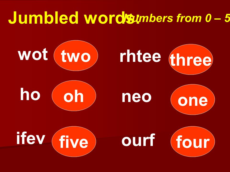 Jumbled words: Numbers from 0 – 5. ifev wot rhtee neo ho two three one five oh four ourf