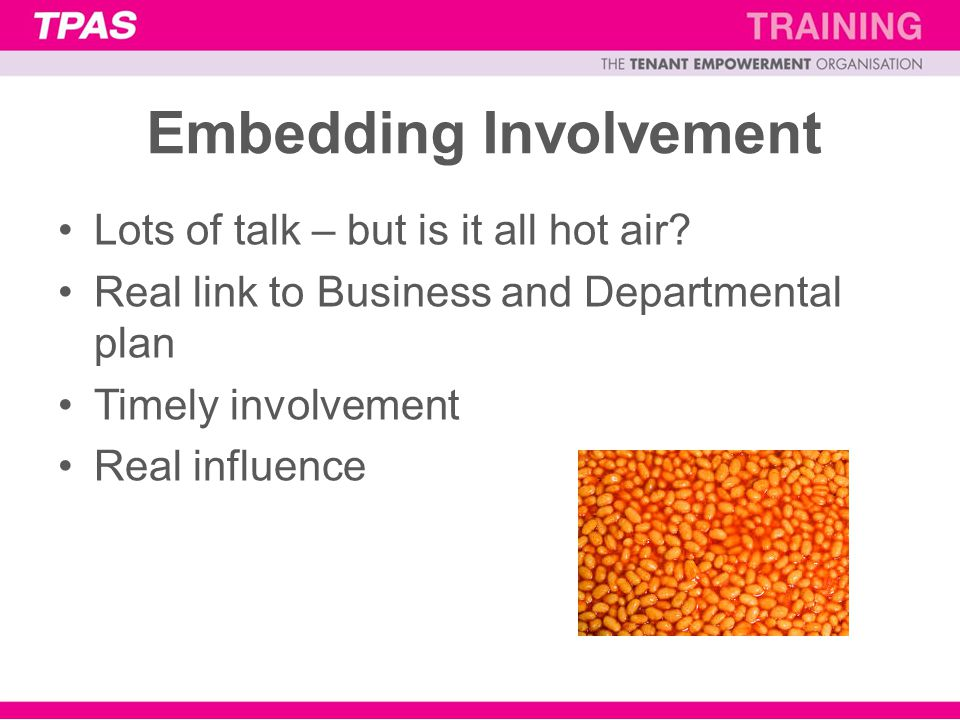 Embedding Involvement Lots of talk – but is it all hot air.