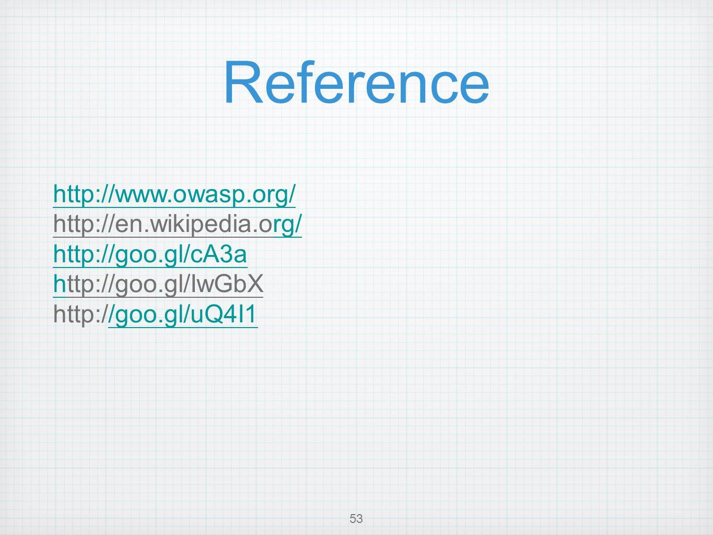 Reference 53 http://www.owasp.org/ http://en.wikipedia.org/rg/ http://goo.gl/cA3a hhttp://goo.gl/IwGbX http://goo.gl/uQ4I1/goo.gl/uQ4I1