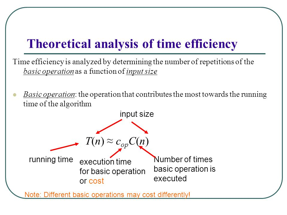 Theoretical analysis of time efficiency Time efficiency is analyzed by determining the number of repetitions of the basic operation as a function of input size Basic operation: the operation that contributes the most towards the running time of the algorithm T(n) ≈ c op C(n) running time execution time for basic operation or cost Number of times basic operation is executed input size Note: Different basic operations may cost differently!