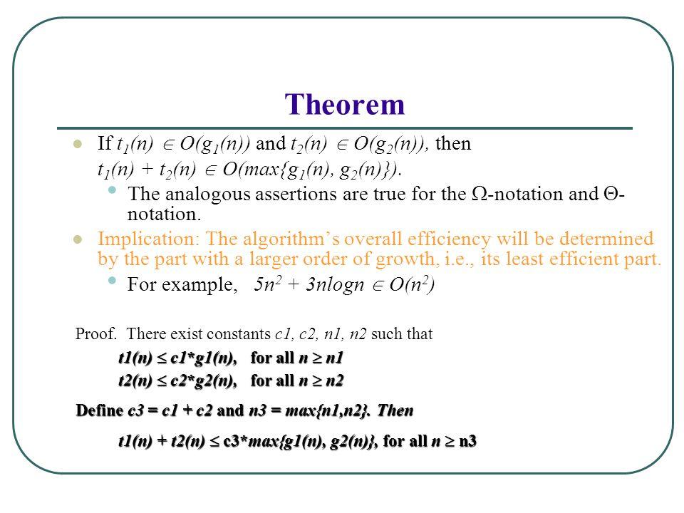 Theorem If t 1 (n)  O(g 1 (n)) and t 2 (n)  O(g 2 (n)), then t 1 (n) + t 2 (n)  O(max{g 1 (n), g 2 (n)}).