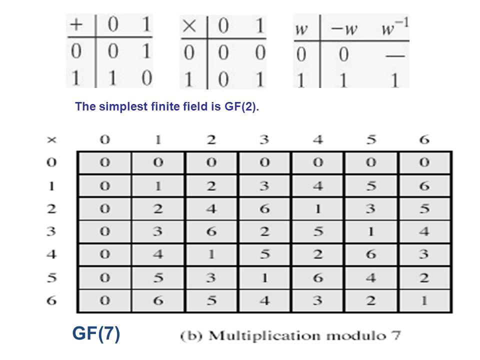 GF(7) The simplest finite field is GF(2).