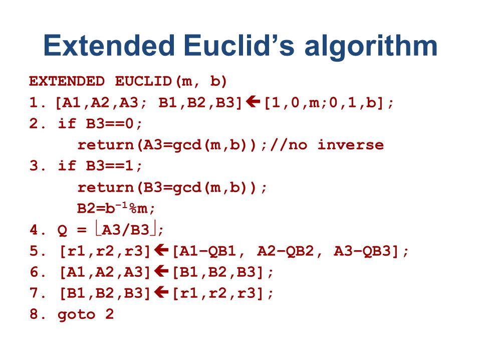 Extended Euclid's algorithm EXTENDED EUCLID(m, b) 1.[A1,A2,A3; B1,B2,B3]  [1,0,m;0,1,b]; 2.
