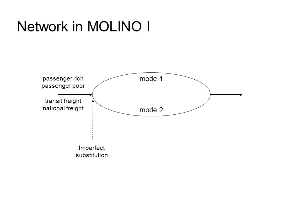 Network in MOLINO I Imperfect substitution passenger rich passenger poor transit freight national freight mode 2 mode 1