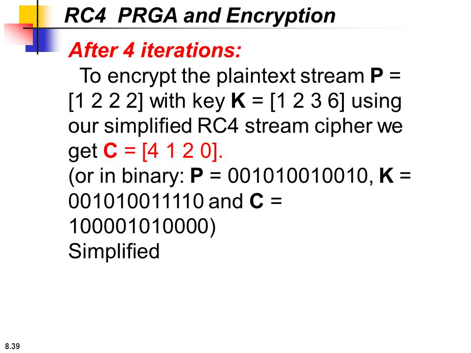 8.39 RC4 PRGA and Encryption After 4 iterations: To encrypt the plaintext stream P = [1 2 2 2] with key K = [1 2 3 6] using our simplified RC4 stream