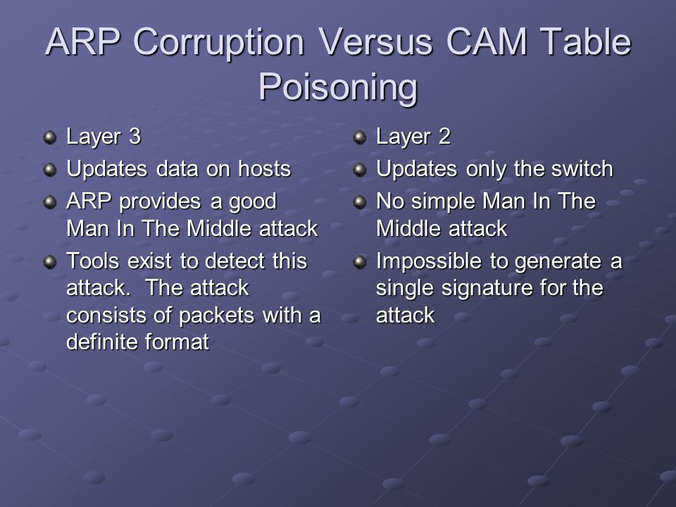 ARP Corruption Versus CAM Table Poisoning Layer 3 Updates data on hosts ARP provides a good Man In The Middle attack Tools exist to detect this attack