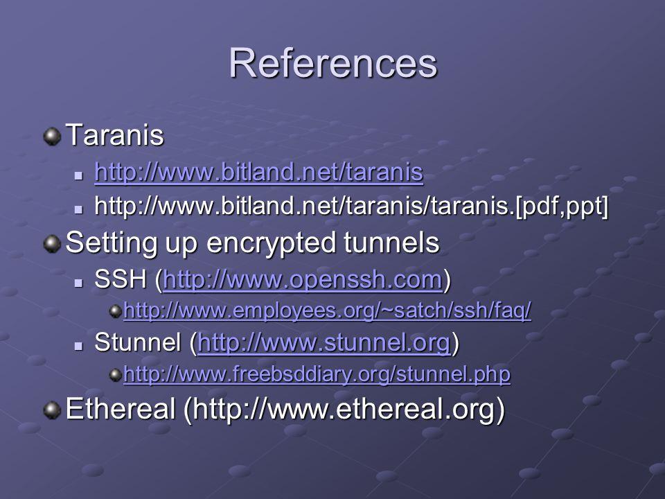 References Taranis http://www.bitland.net/taranis http://www.bitland.net/taranis http://www.bitland.net/taranis http://www.bitland.net/taranis/taranis