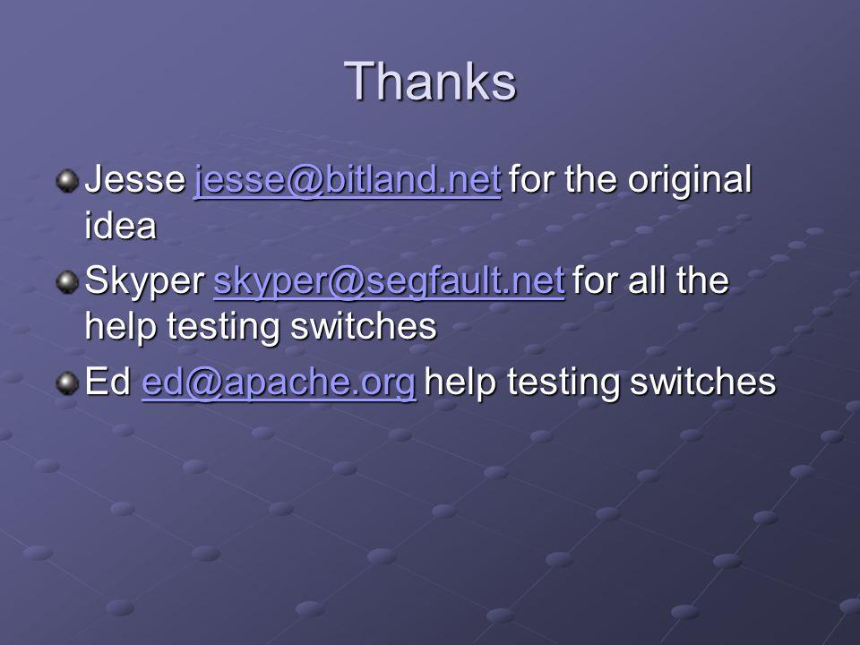 Thanks Jesse jesse@bitland.net for the original idea jesse@bitland.net Skyper skyper@segfault.net for all the help testing switches skyper@segfault.ne