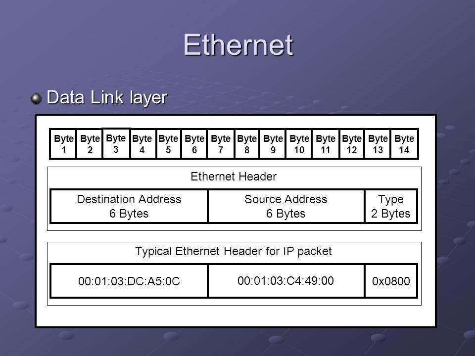 Ethernet Data Link layer Ethernet Header Destination Address 6 Bytes Source Address 6 Bytes Type 2 Bytes Typical Ethernet Header for IP packet 00:01:0