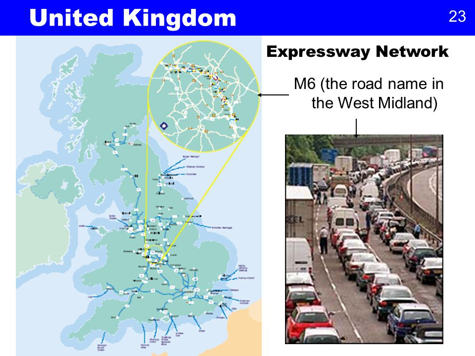23 Expressway Network United Kingdom M6 (the road name in the West Midland)